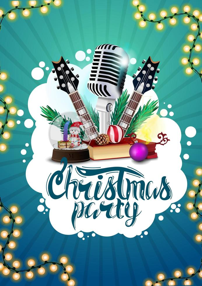 Christmas party, blue poster with guitars, microphone, Christmas presents, garland and abstract white cloud vector