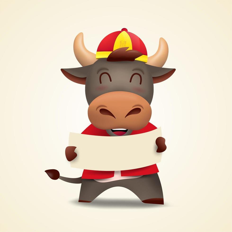 feliz año nuevo chino 2021 buey zodíaco. lindo personaje de vaca en traje rojo. vector