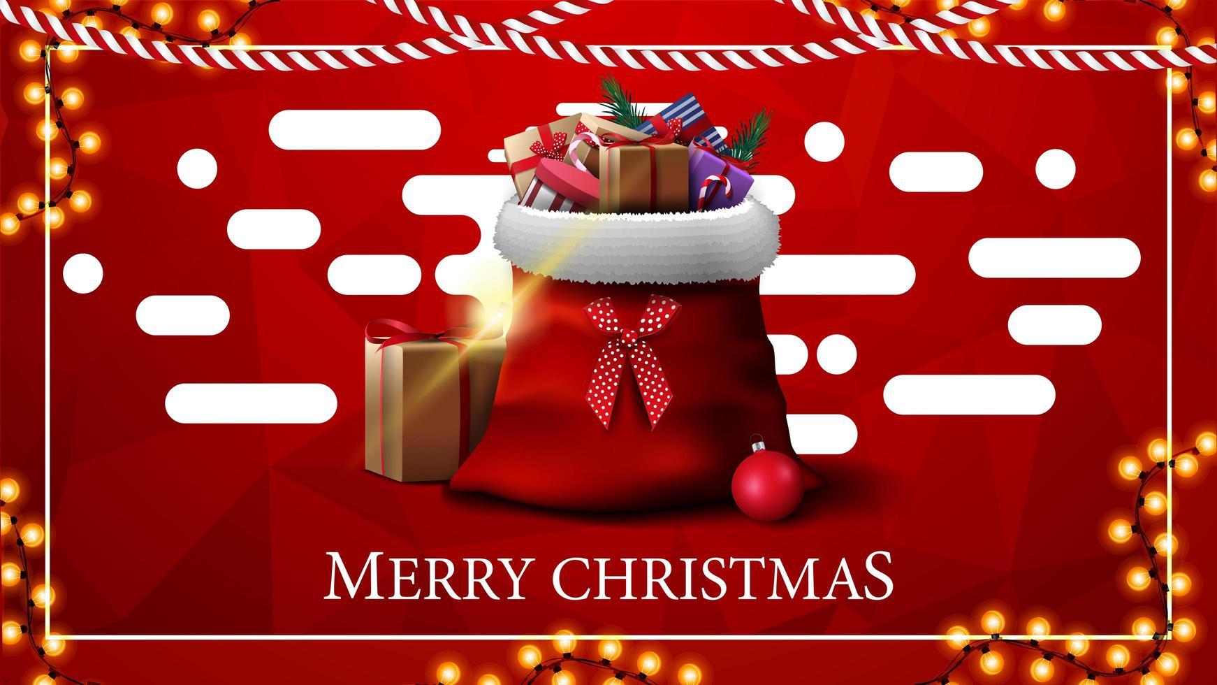 Feliz Navidad, tarjeta de felicitación roja con textura poligonal sobre fondo y bolsa de santa claus con regalos en primer plano vector