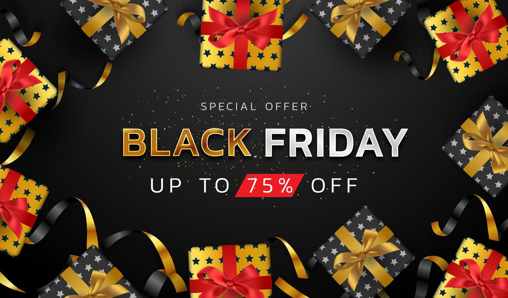Fondo de viernes negro u promoción de oferta especial banner de venta para carteles comerciales y publicitarios vector