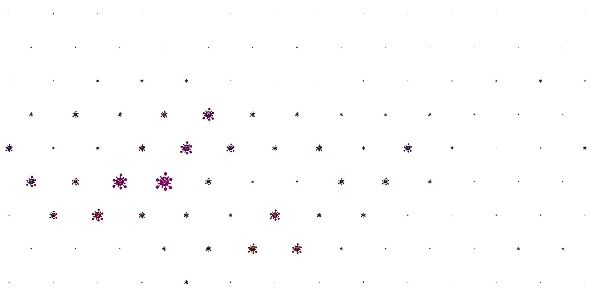 patrón de vector rosa claro, rojo con elementos de coronavirus.