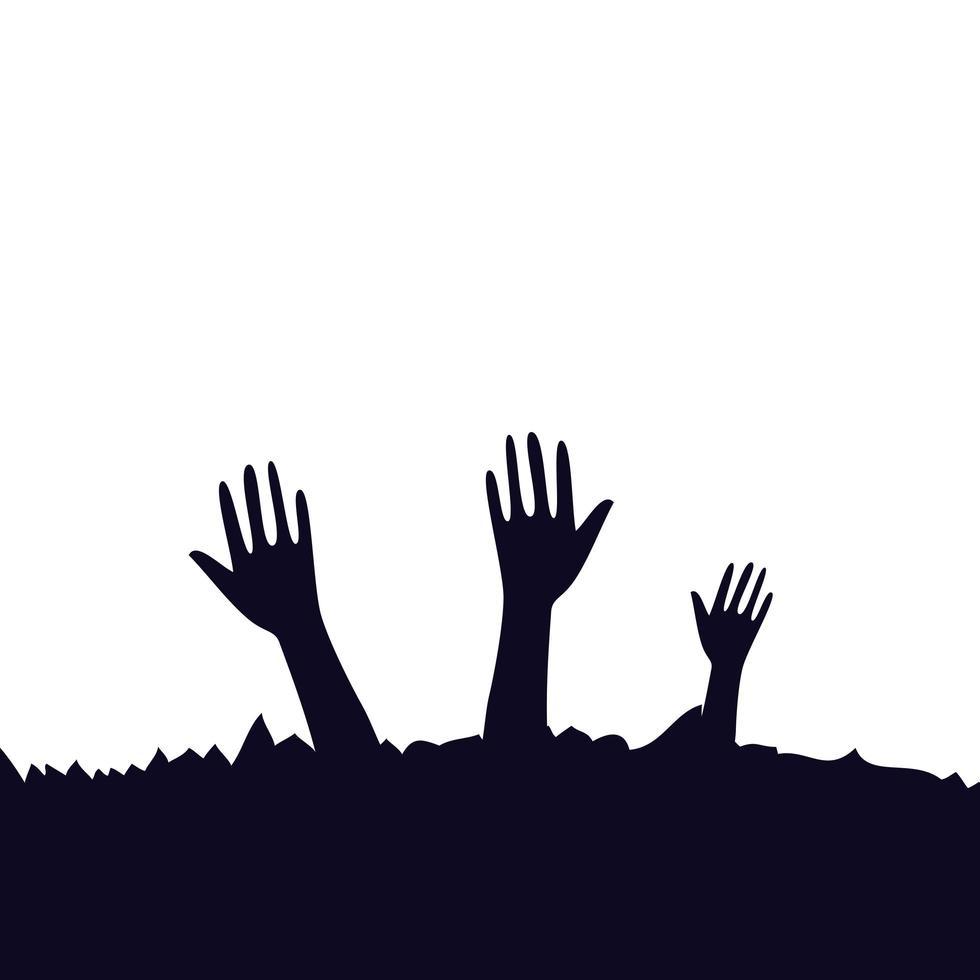 hands of zombie for halloween vector
