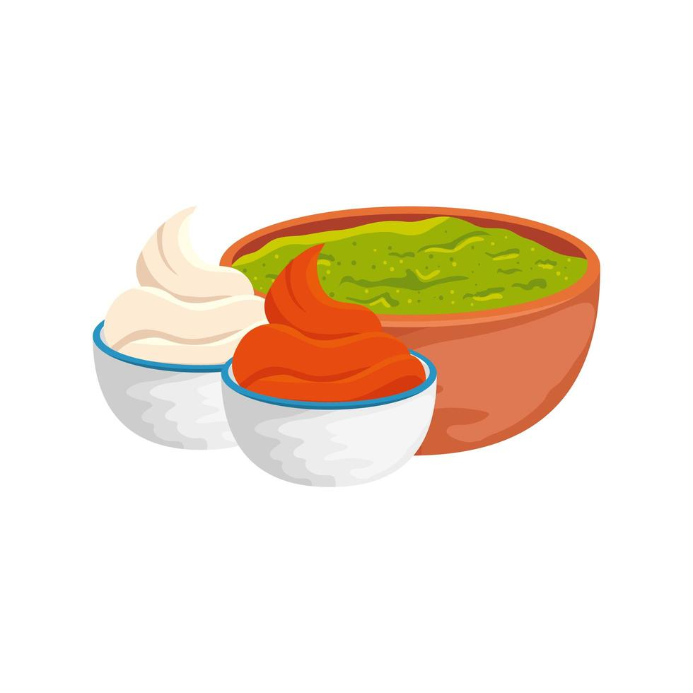bowl with delicious guacamole and sauces isolated icon vector