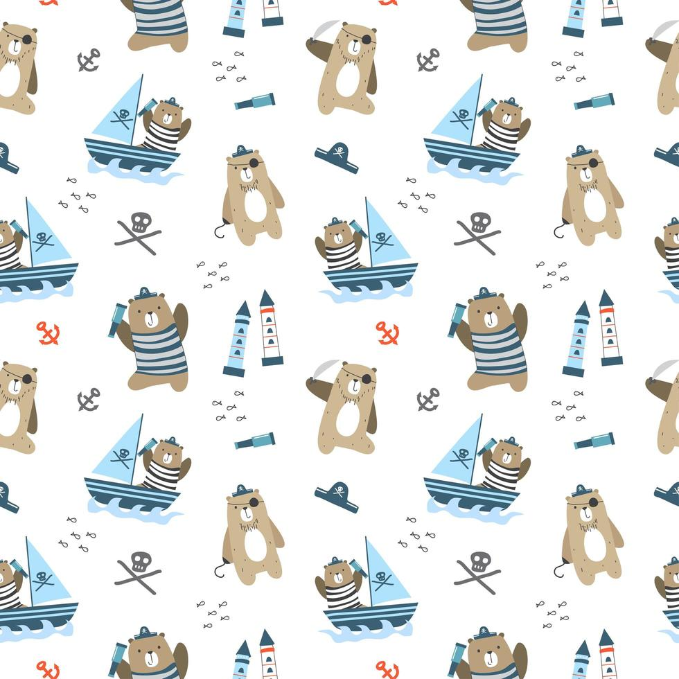 Kids baby pattern of cute bear with pirates concept vector