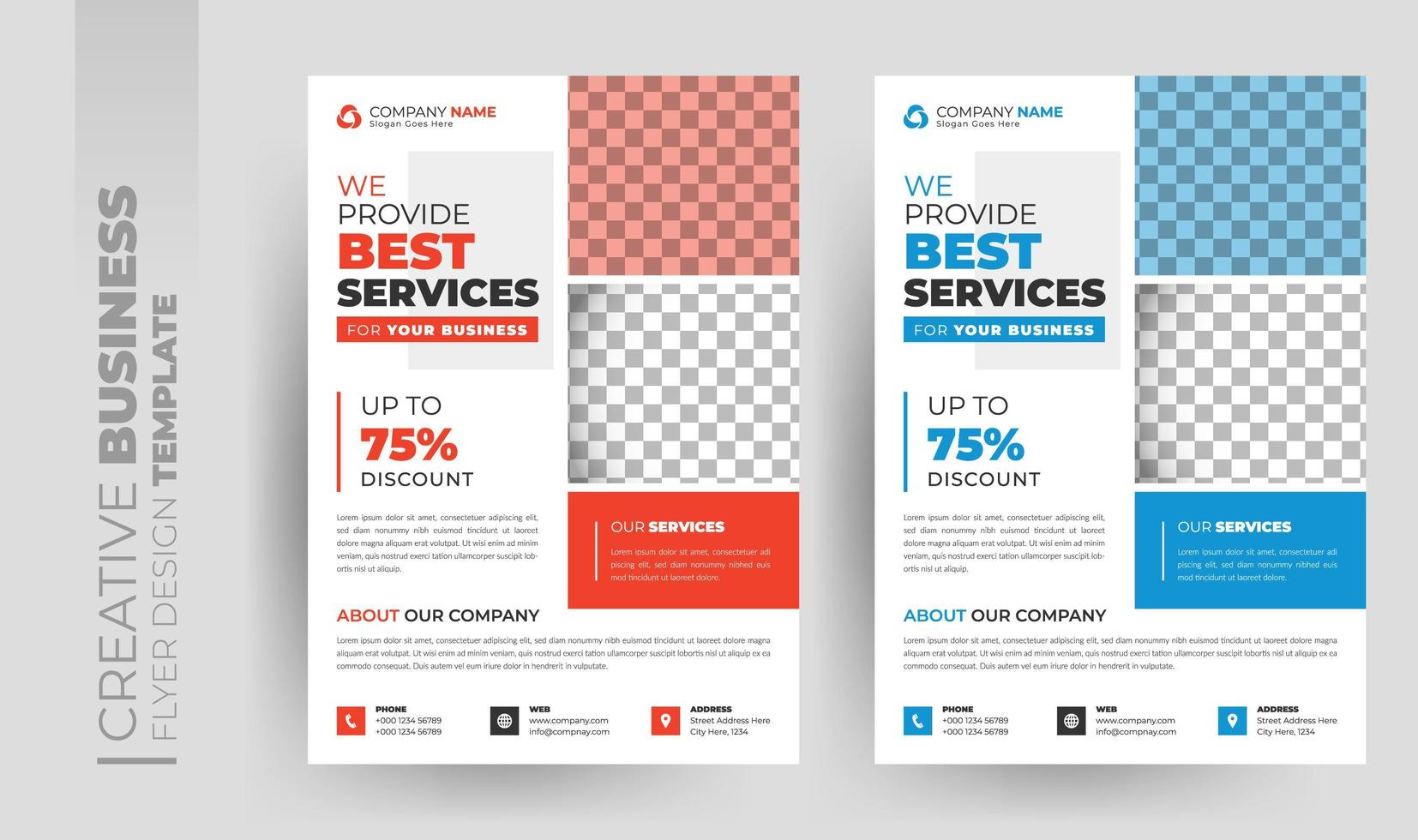 Multipurpose corporate business flyer and brochure cover set vector