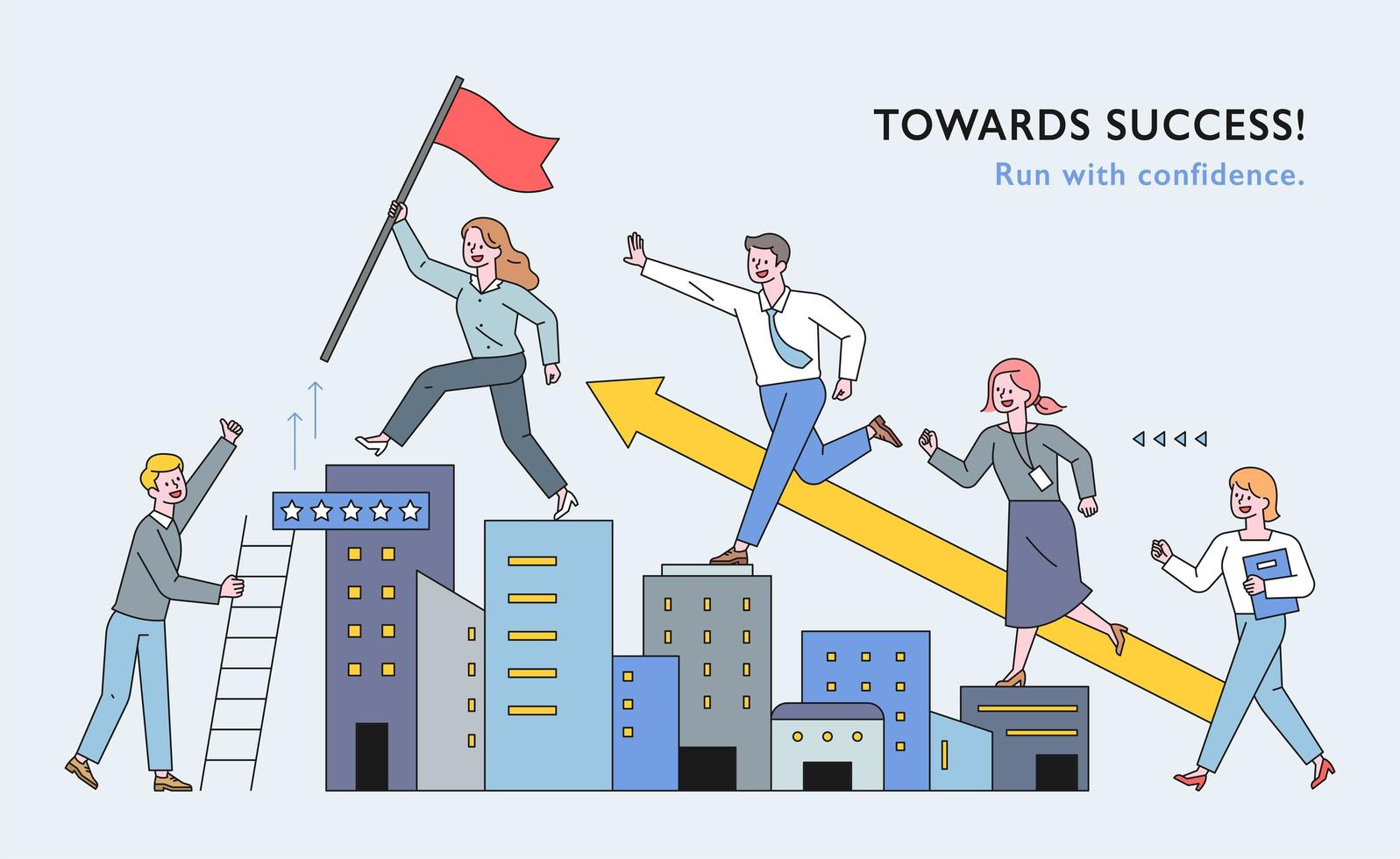 Business people are climbing the building like stairs. vector