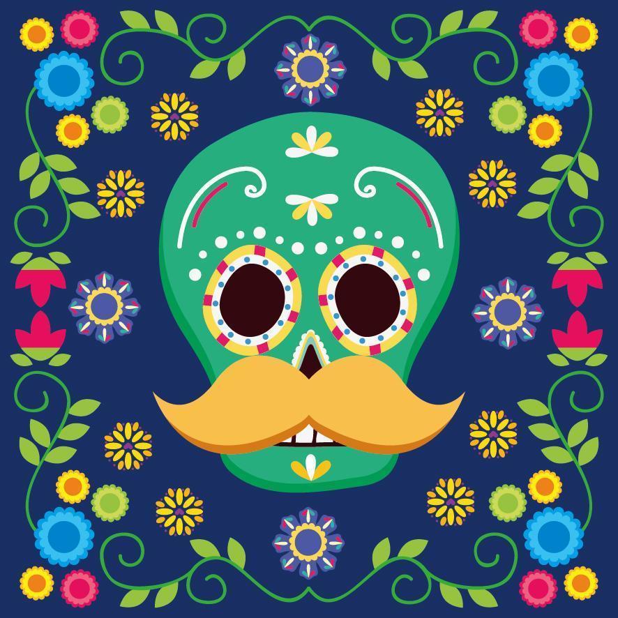 diseño de vector de calavera mexicana