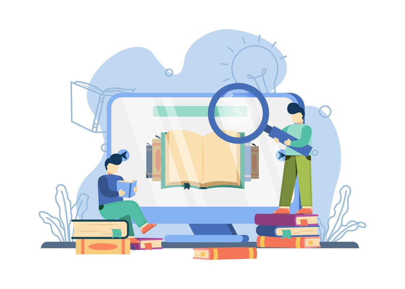 Man carrying magnifying glass on online library concept vector