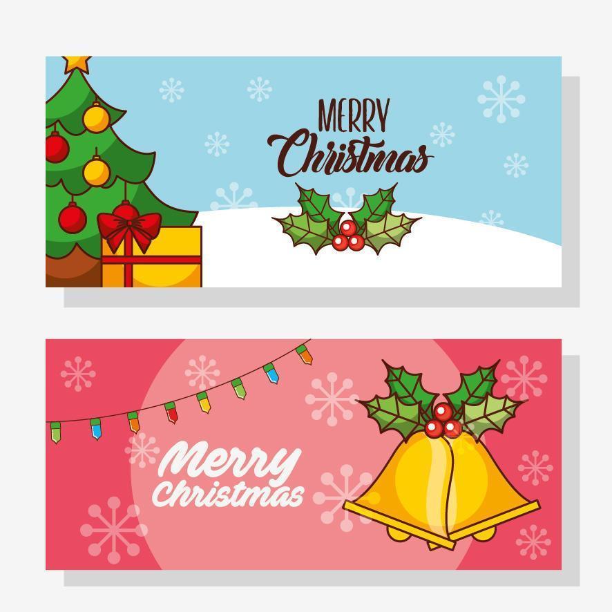 banner de feliz navidad con pino vector