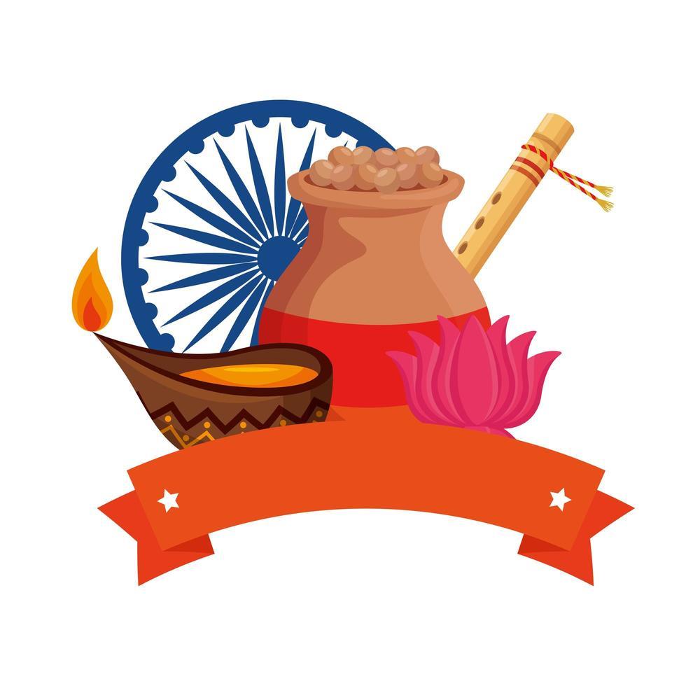 Jarra de cerámica india con alimentos e iconos ornamentales vector