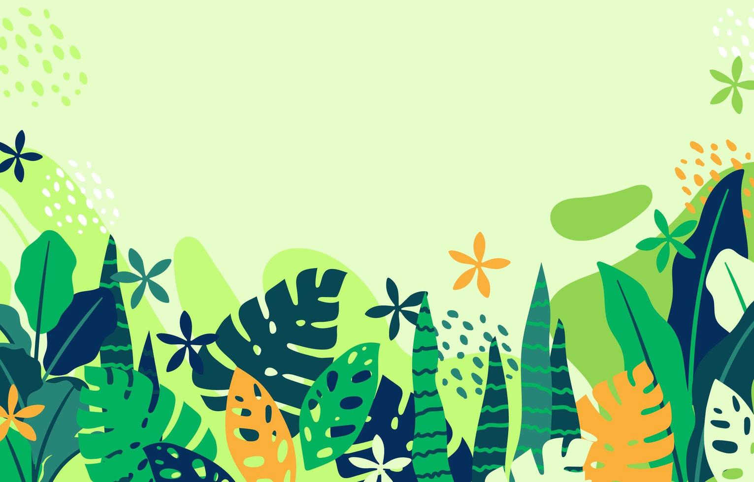 Tropical Plant with Light Green Background vector