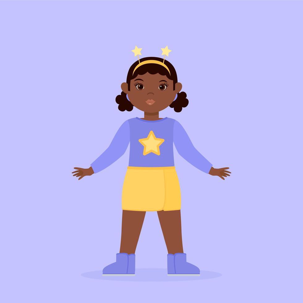 Black Little Girl with Yellow Stars Diadem vector