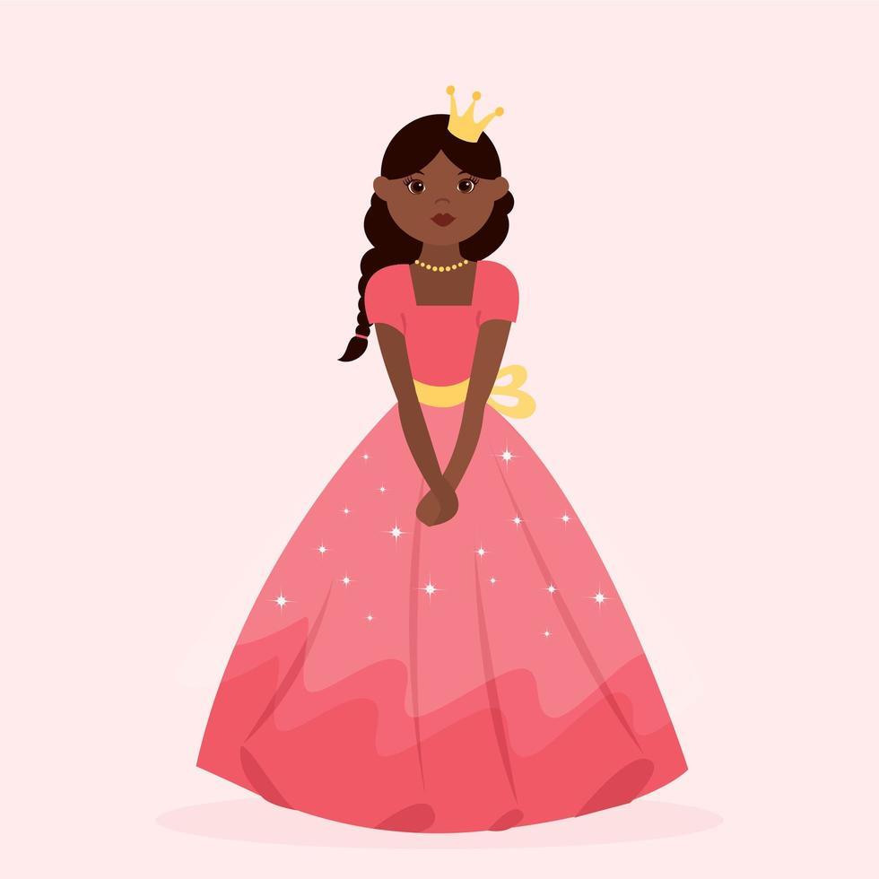 Little Black Princess Wearing Red Dress vector
