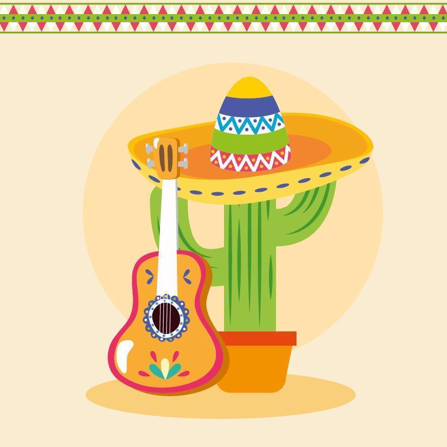 diseño de vector de cactus y guitarra mexicana