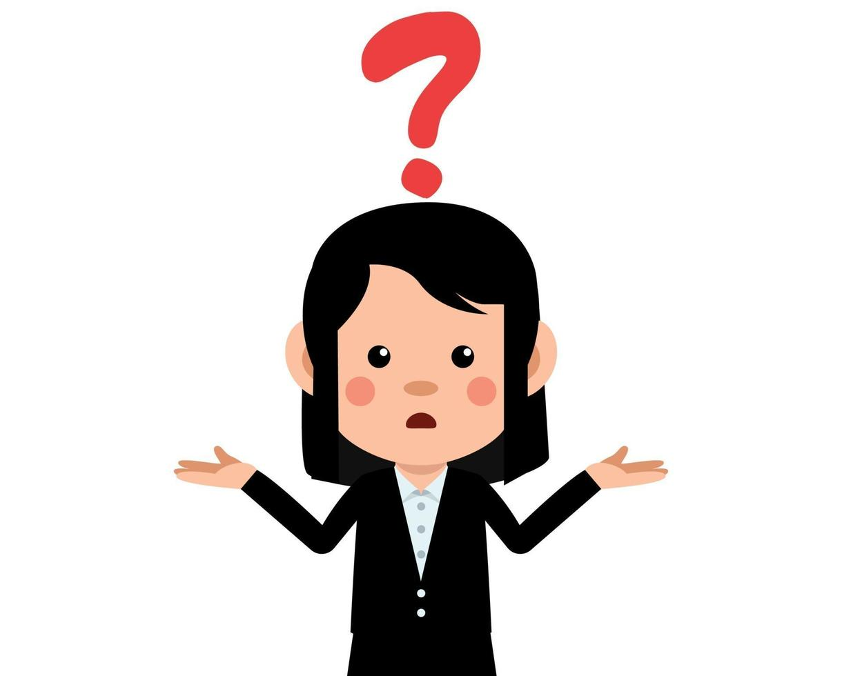 Cute woman with question mark above the head 1953073 Vector Art at Vecteezy