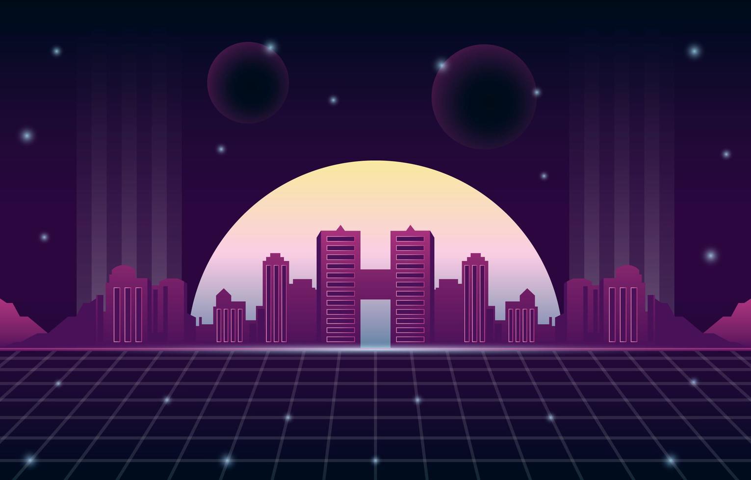 Retro Futurism Background with Modern Cityscape Scenery vector