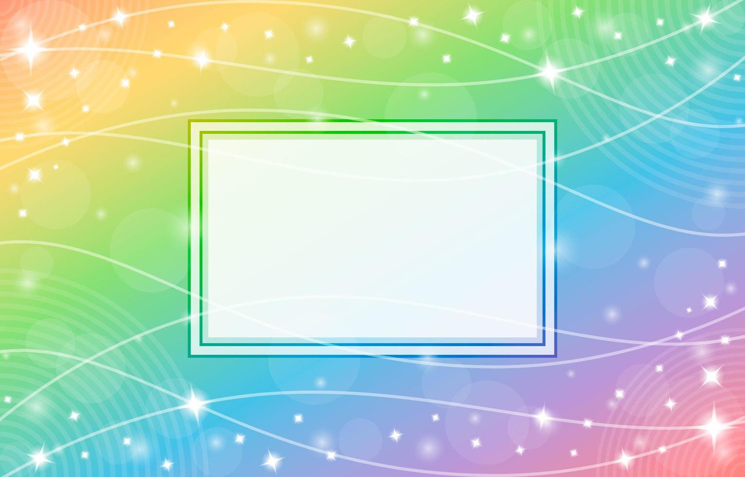 Gradient Rainbow Background with Frame and Wave Pattern Composition vector