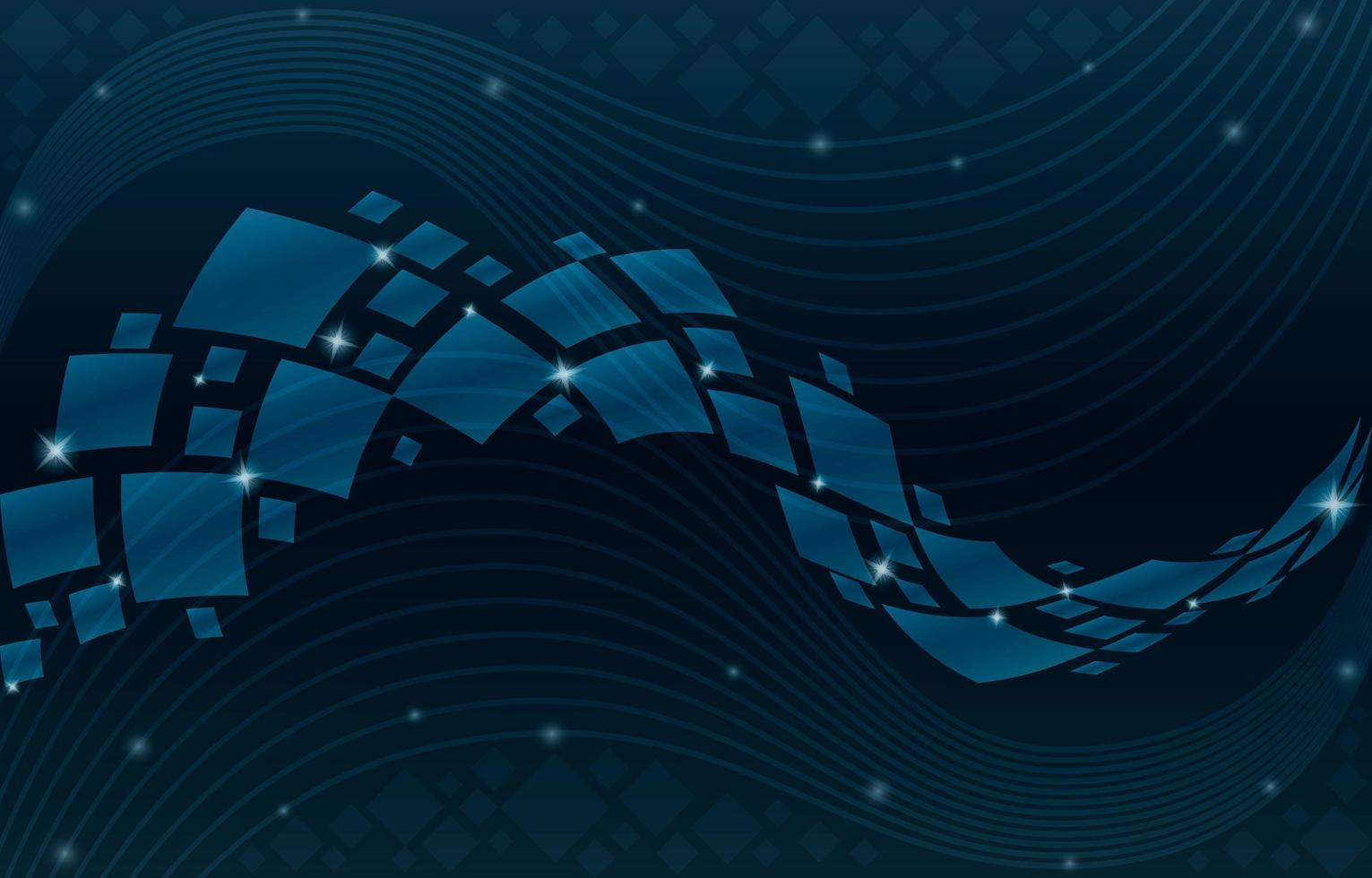 Geometric Wave with Square and Line Composition vector