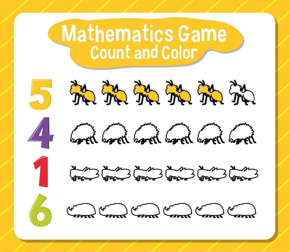 cuenta de juego de matemáticas y hoja de trabajo de color para estudiante vector