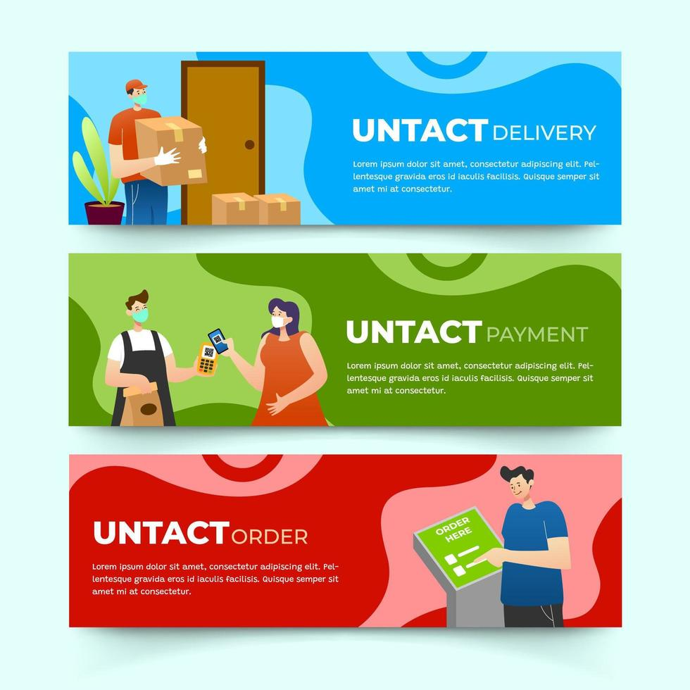 Banner of UNTACT or Contactless Technology vector