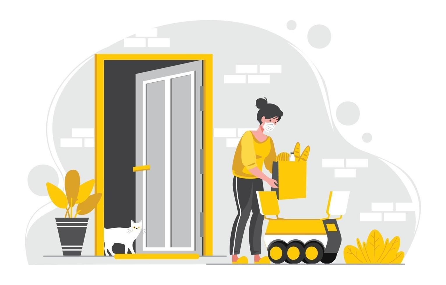 UNTACT Contactless Delivery at Home Concept vector