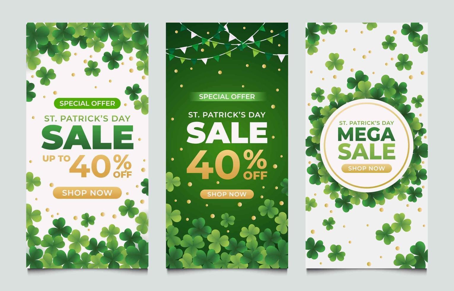 Saint Patrick's Sale Banner with Clover Design vector