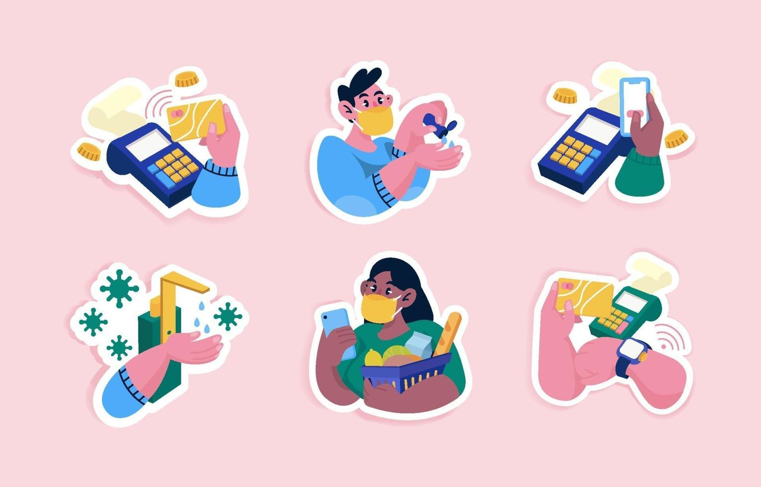 Cute Untact Doodles with Pink Background vector
