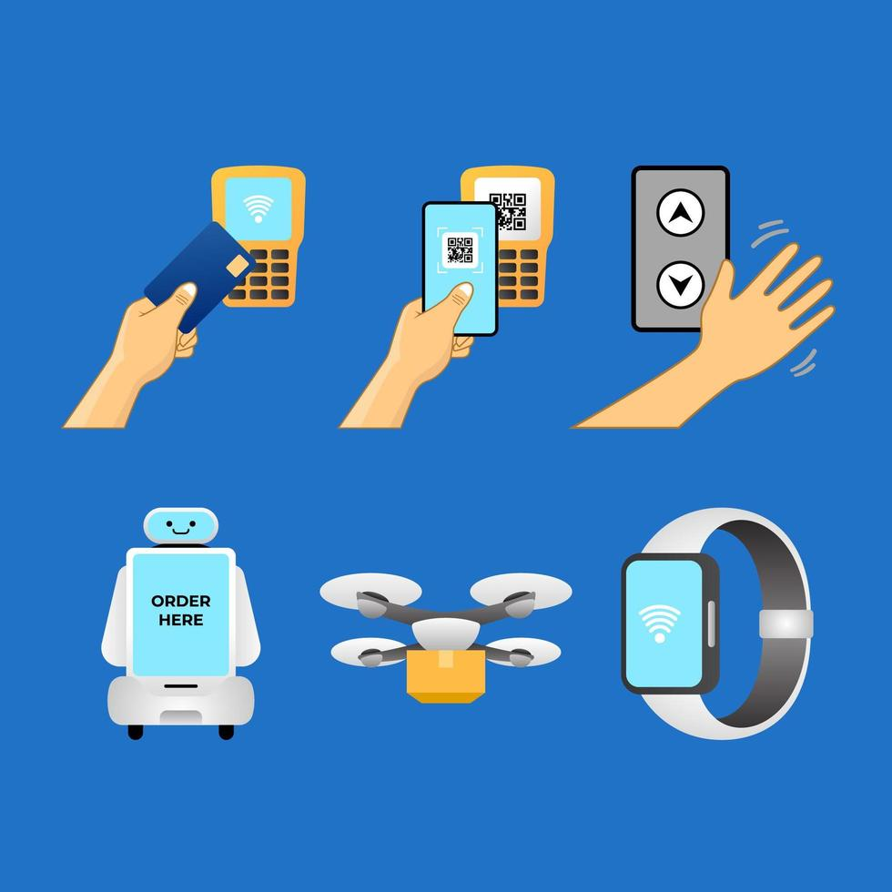 UNTACT or Contactless Stickers vector