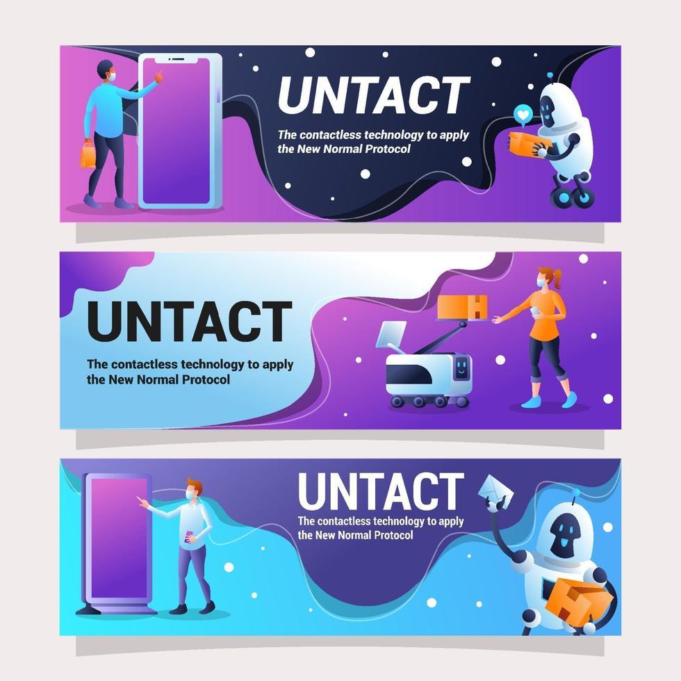 UNTACT Banner Design Representing Contactless Technology vector