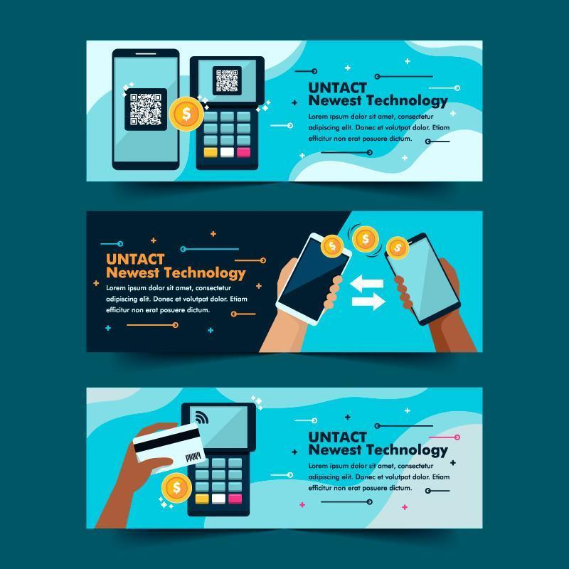 Contactless Technology Payment Banner Collection vector