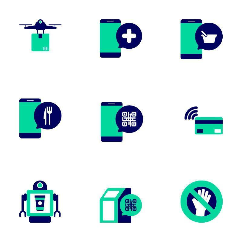 Contactless Technology Icon Collection vector