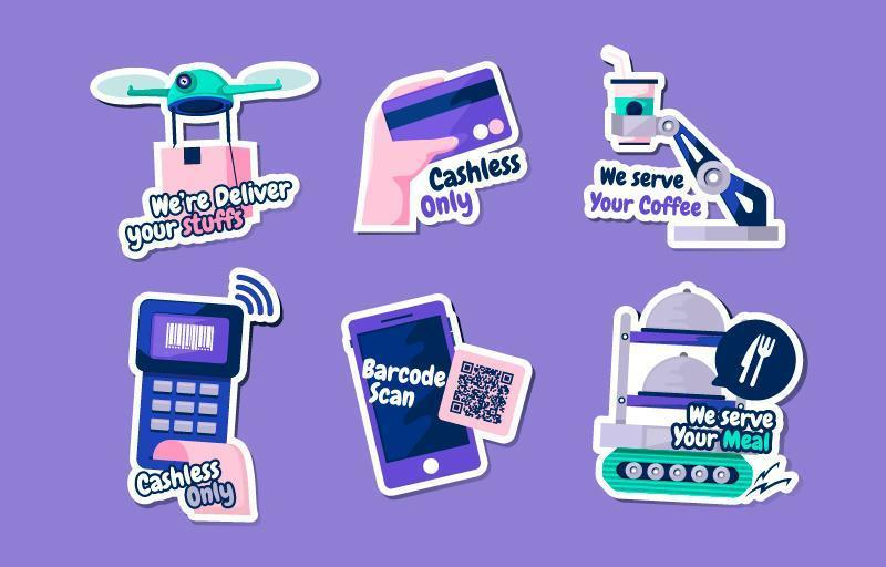 UNTACT New Normal Habit Sticker Collection vector