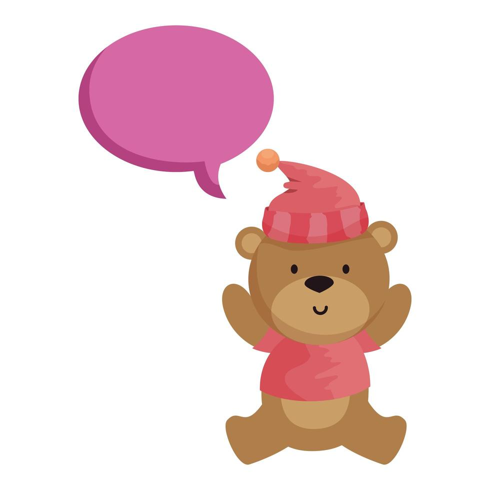 little bear teddy with hat and speech bubble vector
