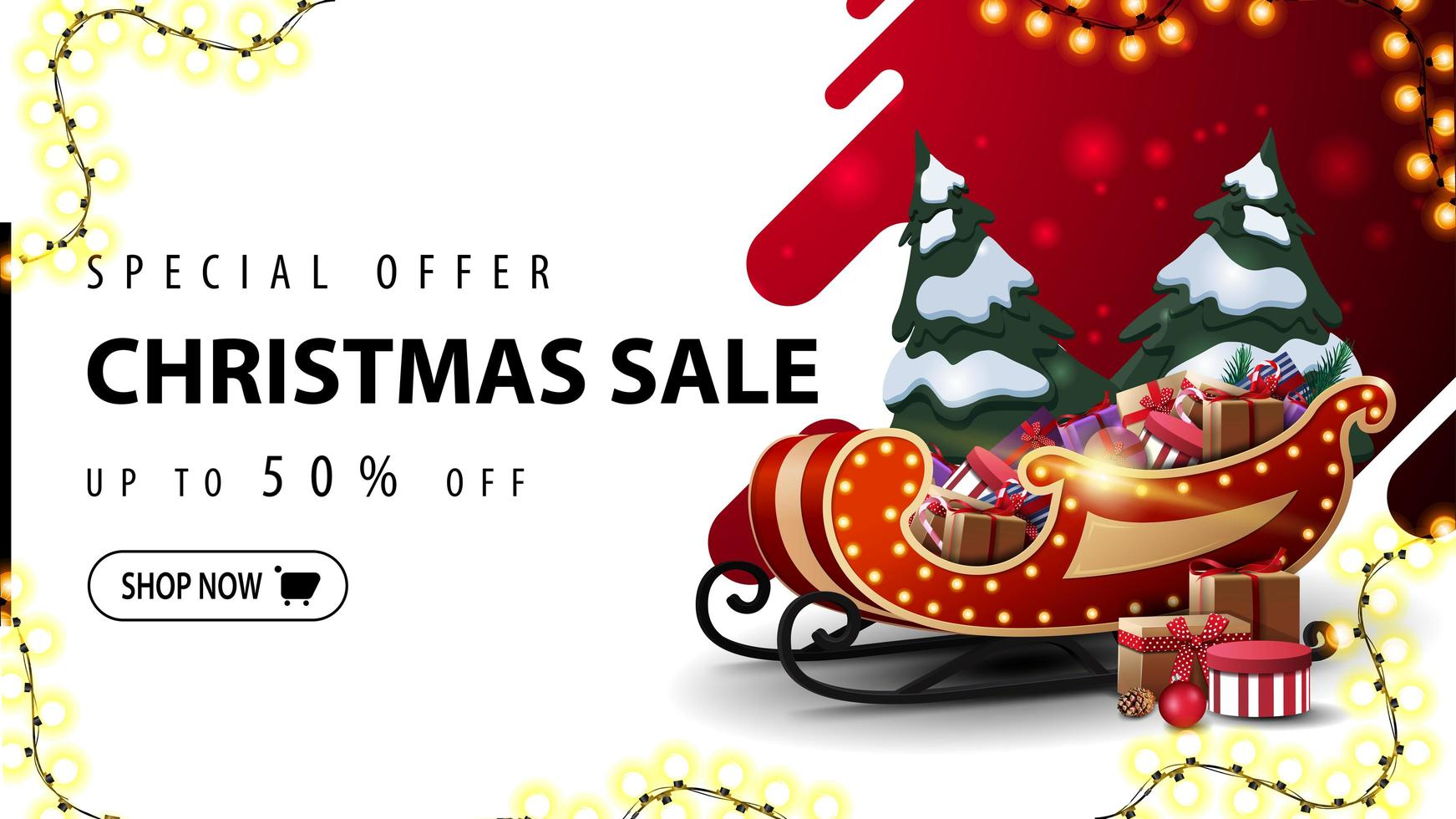 Special offer, Christmas sale, up to 50 off, red and white discount web banner with liquid abstract shape on background, garland frame and Santa Sleigh with pile of presents vector