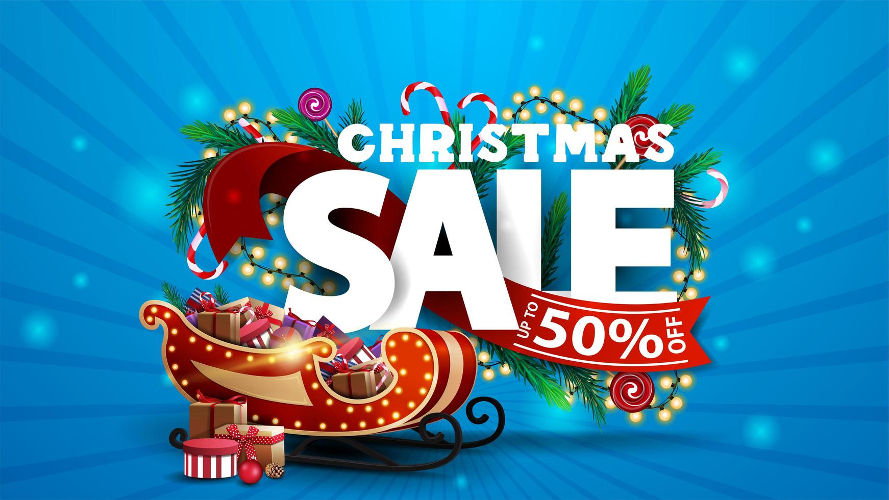 Christmas sale, blue discount banner with 3D text decorated of Christmas tree branches, candies and garlands. vector