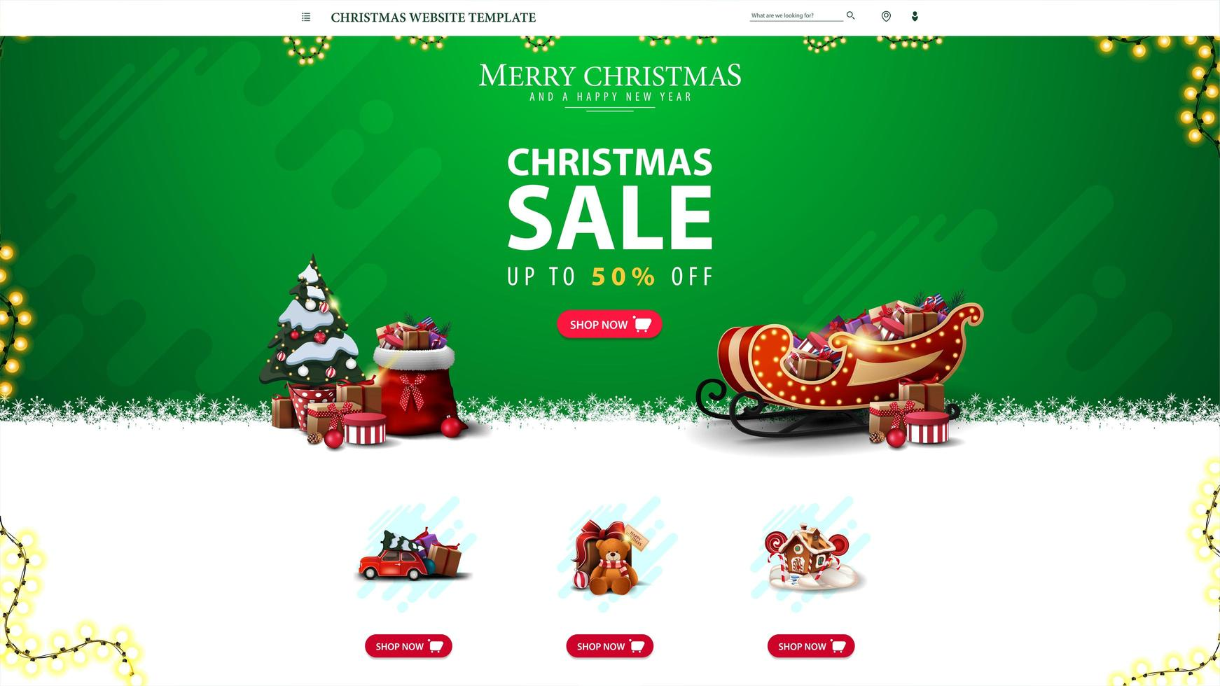 Christmas website template with discount offer, green Christmas website design for your creativity vector