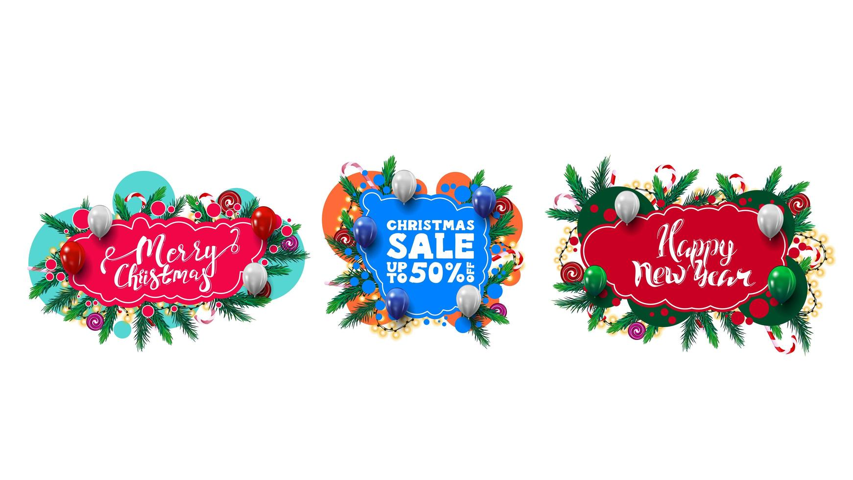 Set of Christmas greeting and discounts web elements in graffiti style with abstract shapes decorated with Christmas tree branches, candies and garlands vector