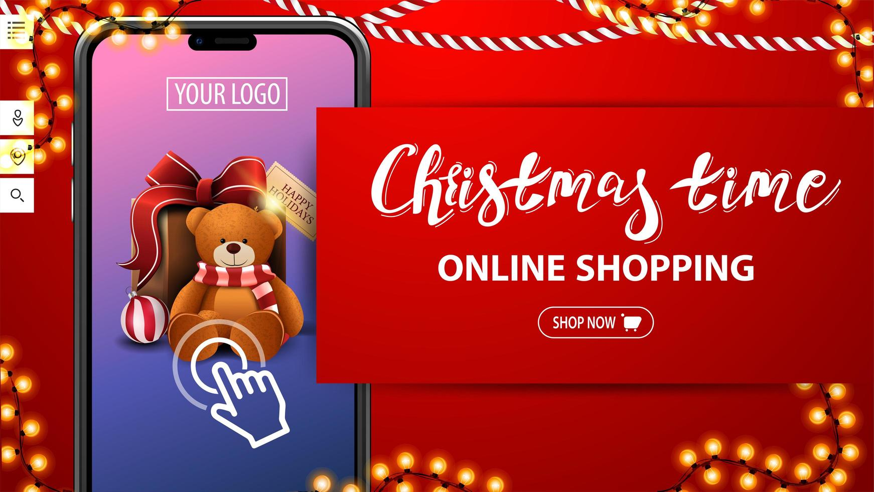 Christmas time, online shopping, red discount banner with large smartphone with present on screen. Discount banner for your website vector