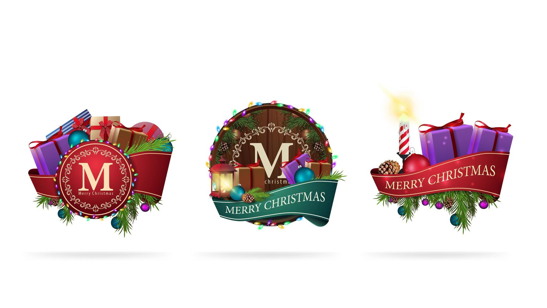 Set of Christmas stickers made of ribbons decorated with Christmas elements isolated on white background vector