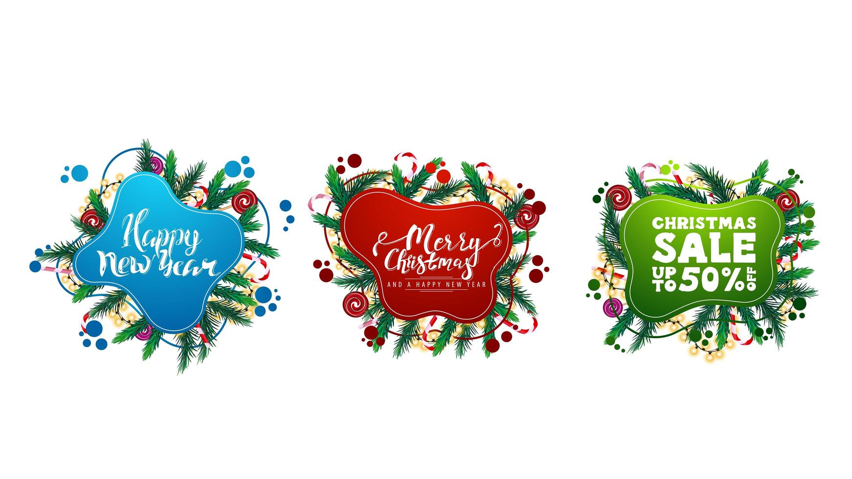 Large collection of Christmas greeting and discounts web elements in liquid style with abstract fluid shapes decorated with Christmas tree branches vector