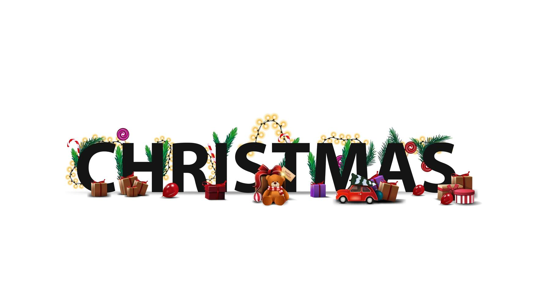 Christmas logo, sign, symbol. 3D title decorated with presents, Christmas tree branches, candies and garlands isolated on white vector