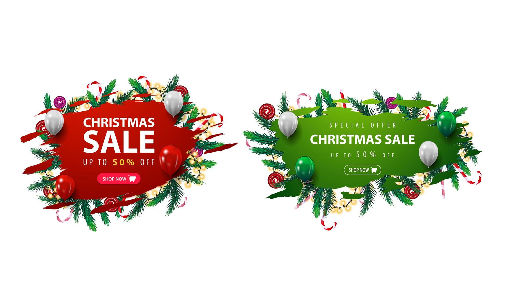 Collection of Christmas discounts web banner with abstract ragged shapes decorated with Christmas tree branches, candies and garlands. vector