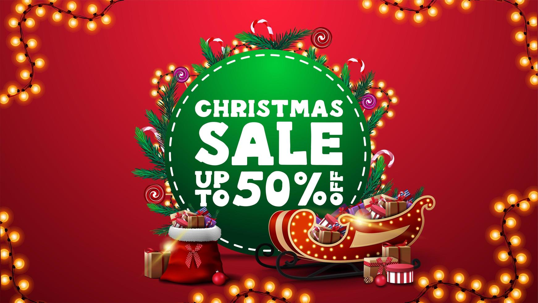 Christmas sale, up to 50 off, vertical red discount banner with green circle with offer, decorated with Christmas tree branches, candies and garlands and Santa Claus sleigh and bag with presents vector