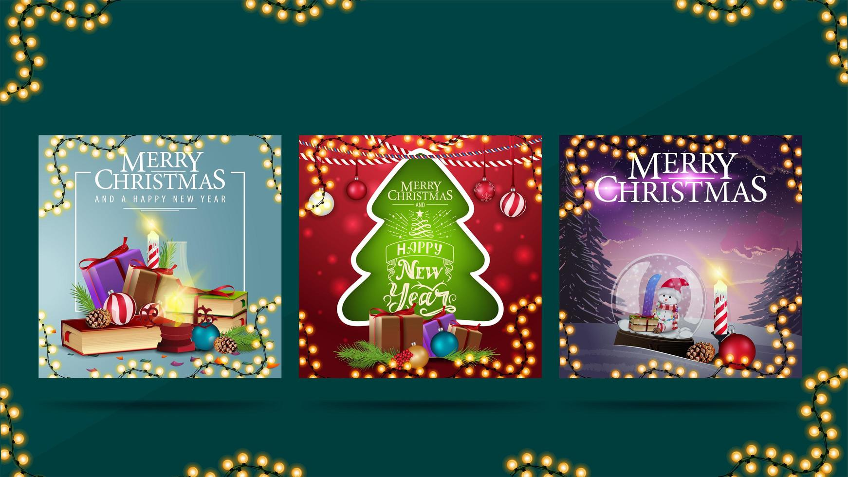 Merry Christmas, set of greeting postcards with Christmas presents. Christmas square cards ready for print vector