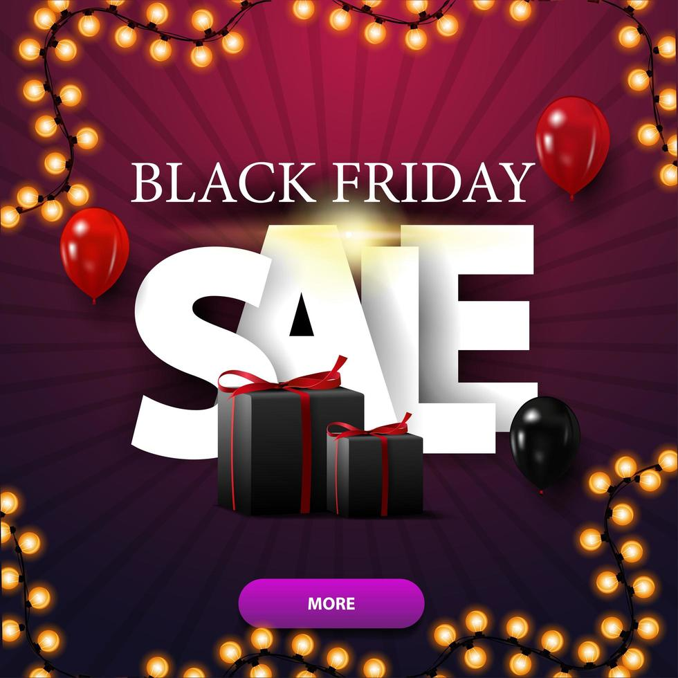 Black Friday sale, modern purple discount banner with large letters and gifts vector