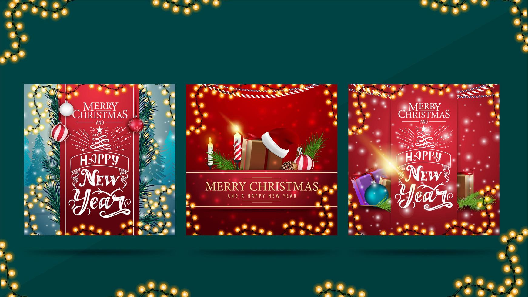 Set of greeting square Christmas postcards with beautiful letterings and Christmas presents. Christmas cards ready to print vector