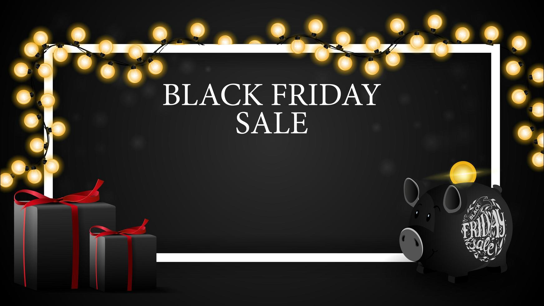 Black Friday sale, discount horizontal template for your art with copy space, gifts and piggy bank vector