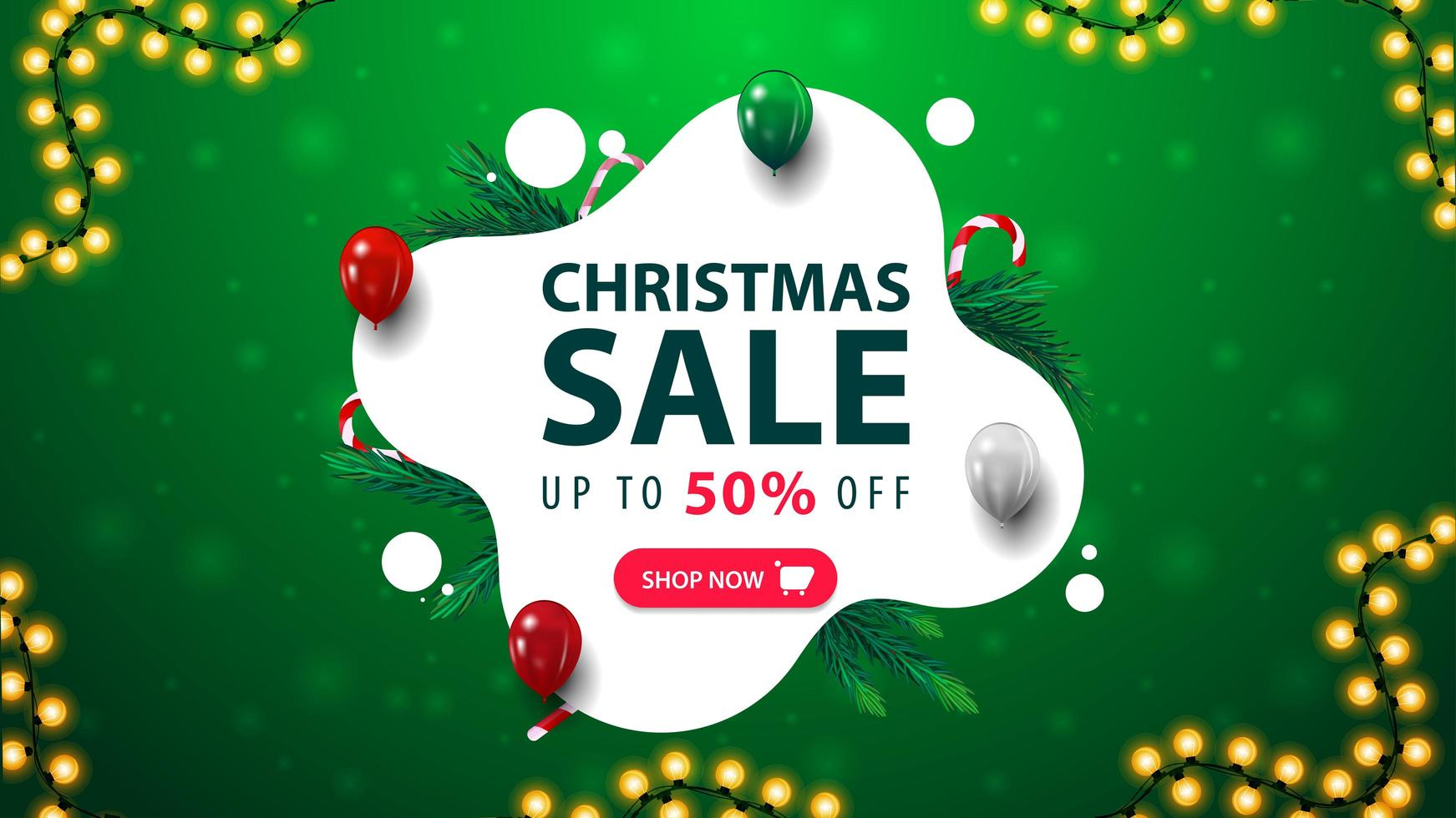 Christmas sale, green and white discount banner in liquid abstract shape with balloons, candy canes, garland and button vector