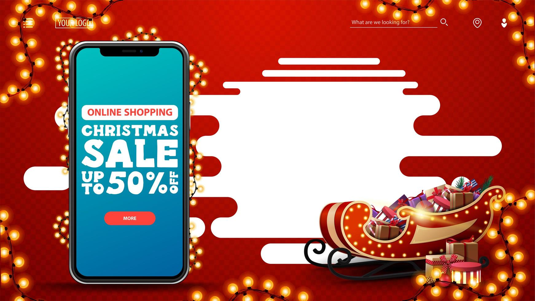 Online Shopping, Christmas sale, up to 50 off, red discount template with smartphone with offer and button on screen, copy space and Santa Sleigh with presents vector