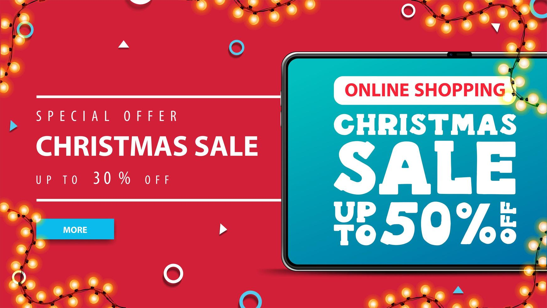 Online Shopping, Christmas sale, up to 50 off, red discount banner with tablet with offer on screen. Modern Christmas discount banner vector
